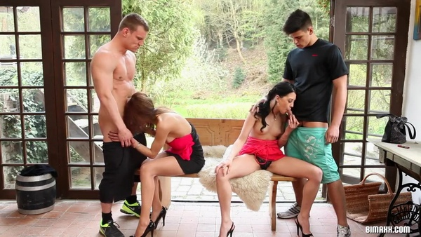 Young guys fuck each other and have fun with beautiful girlfriends