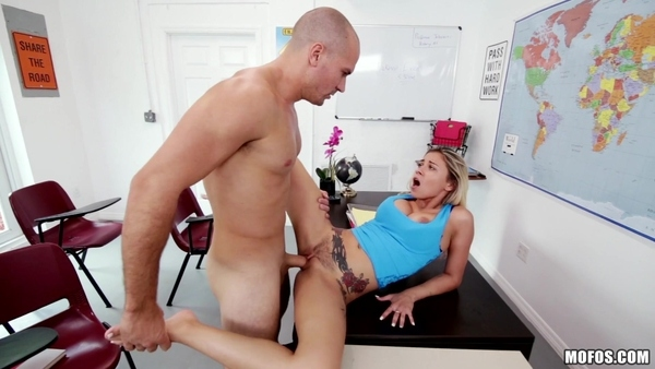 Young beauty banged by classmate in the class