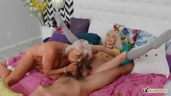 Old blonde and young bitch enjoy one dick