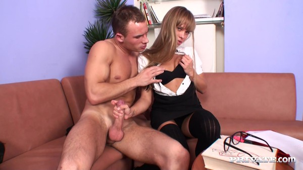 Sexy Moscow girl in black stockings gives a fuck