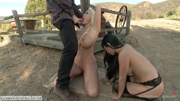Hard BDSM with two bitches outdoors